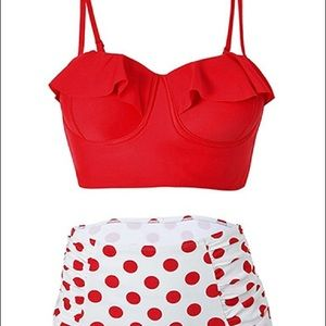 Other - Red and white polka dot bathing suit